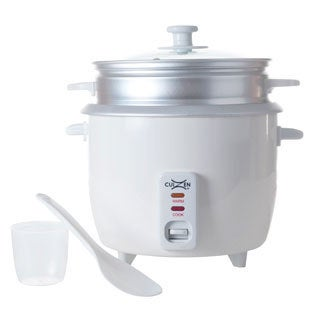 Cuizen White 16-cup Rice Cooker with Steam Tray