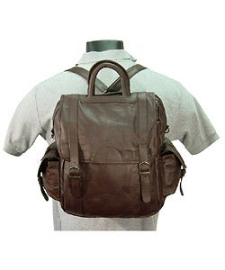 Amerileather Unisex Three-way Brown Top-Grain Cowhide Leather Backpack