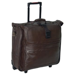 Amerileather Chestnut Brown 22 Inch Leather Rolling Garment Bag
