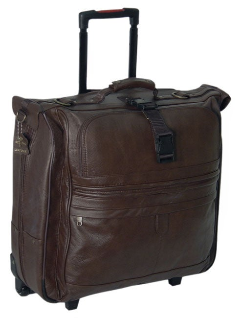 Amerileather Cowhide Leather Chestnut Brown 22 Inch Rolling Garment Bag