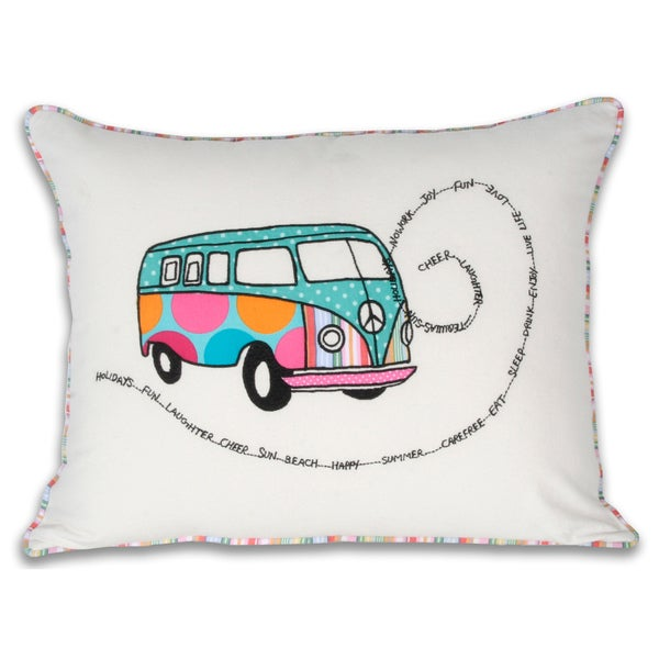 Marlo Lorenz VW Bus 18-inch Cotton Decorative Pillow