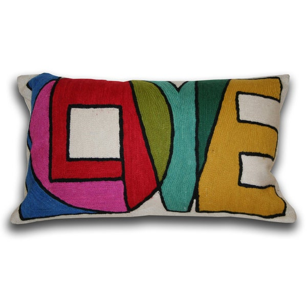 Marlo Lorenz 'Love' 20-inch Cotton Decorative Pillow