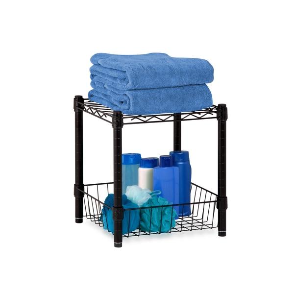 Stacking Black Wire Basket Storage Table