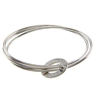 ELLE Jewelry Sterling Silver 'Love, Hope, Trust' Interlocking Bangle Set