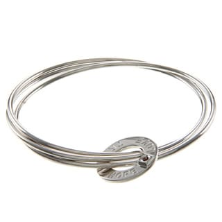 ELLE Jewelry Sterling Silver 'Love, Hope, Trust' Interlocking Bangle Set