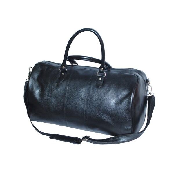 Kozmic Pebble Grain Black Leather Drum Shape Travel Bag