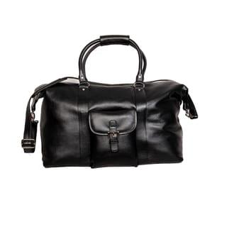 Kozmic Black Pebble Grain Leather Duffel Bag