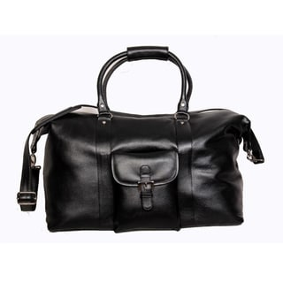Kozmic Black Pebble Grain Leather Duffel Bag