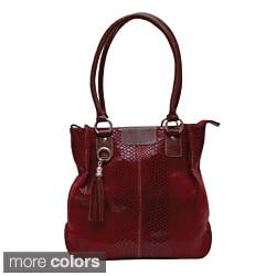 Kozmic Snake-embossed Leather Handbag