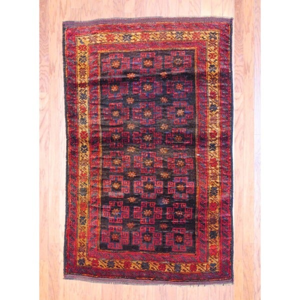 Afghan Hand-knotted Balouchi Black/ Red Wool Rug (3'11 x 6'2)