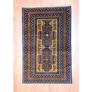 Herat Oriental Afghan Hand-knotted Balouchi Beige/ Black Wool Rug (3'8 x 5'8)