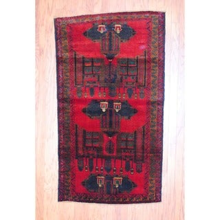 Afghan Hand-knotted Balouchi Red/ Navy Wool Rug (3'6 x 6'2)