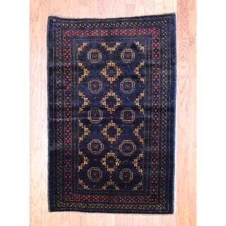 Afghan Hand-knotted Balouchi Black/ Beige Wool Rug (3'6 x 5'3)