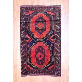 Afghan Hand-knotted Balouchi Red/ Brown Wool Rug (3'9 x 6'5)