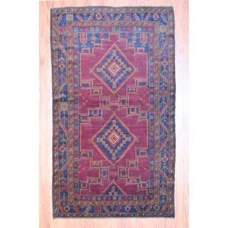 Afghan Hand-knotted Balouchi Burgundy/ Charcoal Wool Rug (4' x 7')