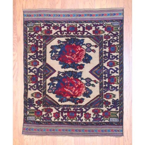 Herat Oriental Afghan Hand-knotted Soumak Balouchi Ivory/ Brown Wool Rug (4'6 x 5'8)