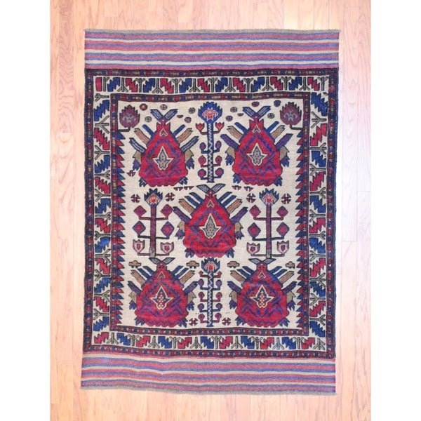 Afghan Hand-knotted Soumak Balouchi Ivory/ Red Wool Rug (4'3 x 6'2)