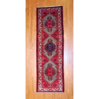 Persian Hand-Knotted 1970s Hamadan Red/Ivory Wool Runner Rug (3'6 x 11')