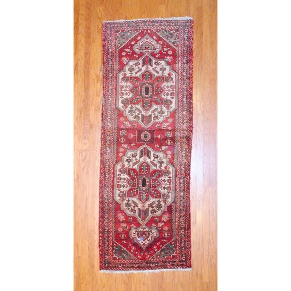 Persian Hand-knotted 1950's Hamadan Red/ Ivory Wool Runner (3'7 x 9'11)