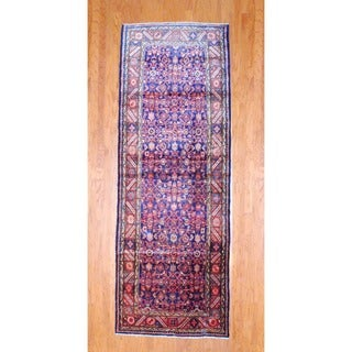 Persian Hand-knotted 1960's Hamadan Navy/ Rust Wool Runner (3'10 x 10'8)