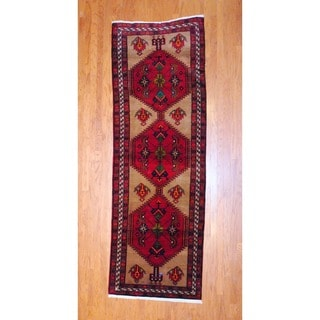 Persian Hand-knotted 1980's Hamadan Burgundy/ Peach Wool Runner (3'8 x 10'8)