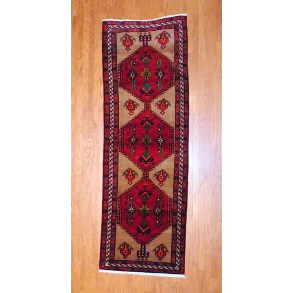 Persian Hand-knotted 1980's Hamadan Burgundy/ Peach Wool Runner (3'8 x 10'8)
