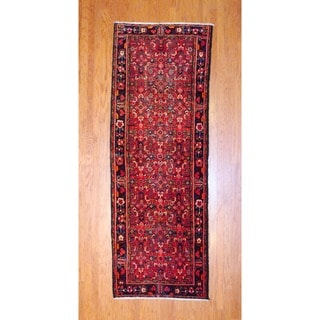 Persian Hand-knotted 1960's Hamadan Red/ Black Wool Runner (3'7 x 10')