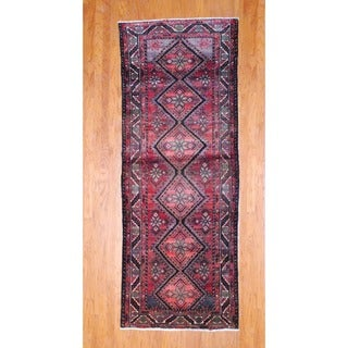 Persian Hand-knotted 1970's Hamadan Rust/ Black Wool Runner (3'8 x 9'9)