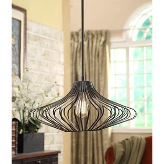 Renate 1-light Distressed Iron Black Compressed Wire Chandelier