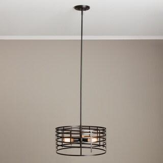 Renate 3-light Distressed Iron Black Spiral Round Chandelier