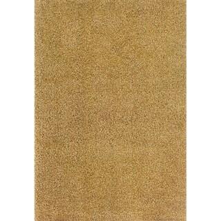 Indoor Ivory/Gold Shag Area Rug