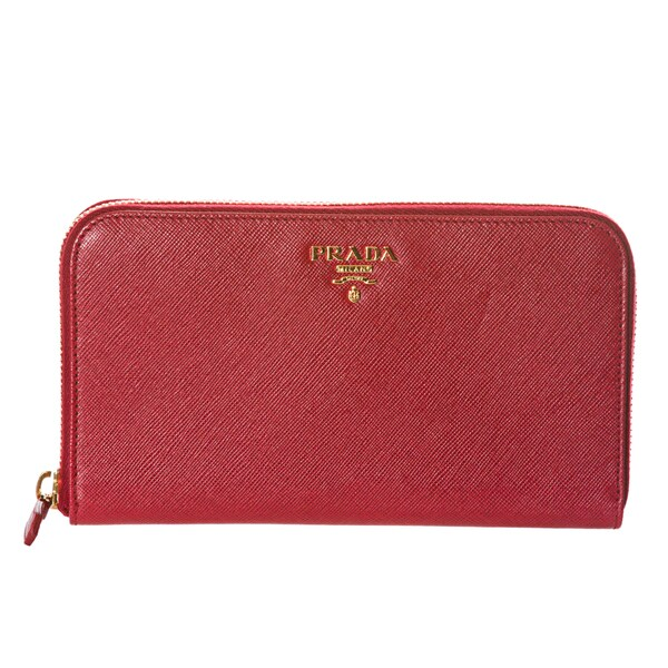 Prada 'Oro' Red Saffiano Leather Zip-around Wallet