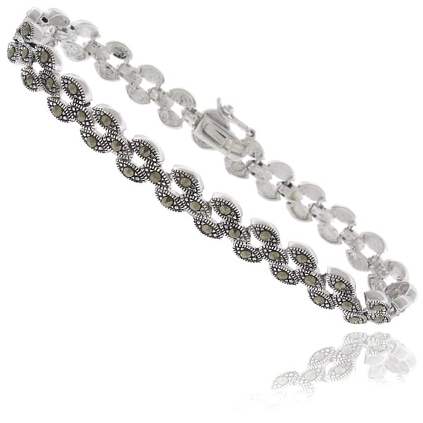 Dolce Giavonna Silverplated Marcasite Circle Link Bracelet
