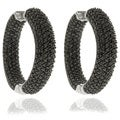 Dolce Giavonna Silver Overlay Black Cubic Zirconia Hoop Earrings