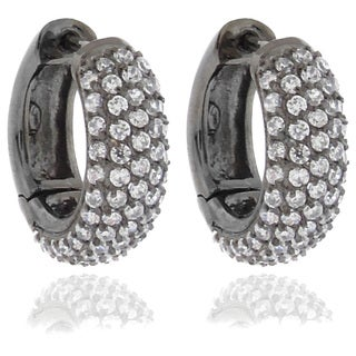 Dolce Giavonna Black Plated Brass White Cubic Zirconia Hoop Earrings