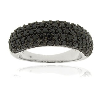 Dolce Giavonna Silverplated Black Cubic Zirconia Ring