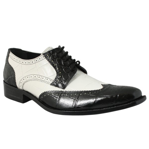 Giorgio Brutini Men's Black/ White Leather Oxfords