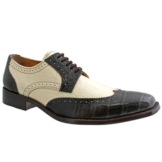 Giorgio Brutini Men's Brown/ Bone Leather Oxfords