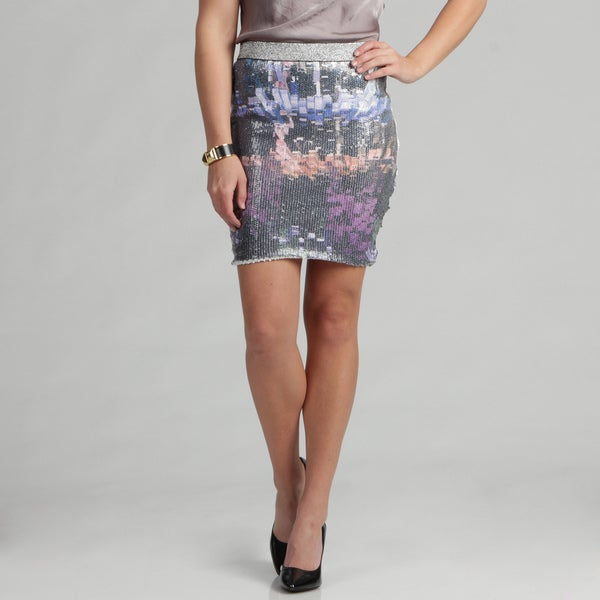 Tabeez Women's Watercolor Sequin Stretch Skirt