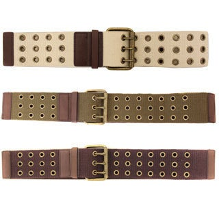 In Style Women's Rugged Ribbed Stretch Webbing Belt