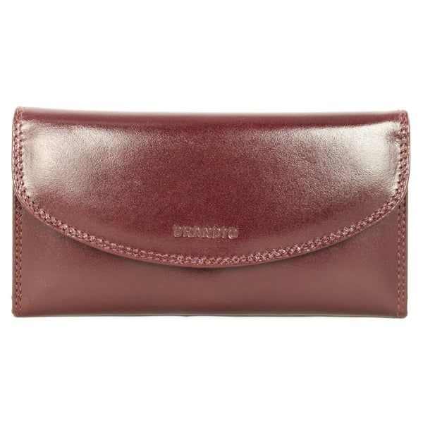 Brandio Women's Brown Leather Tri-fold Wallet