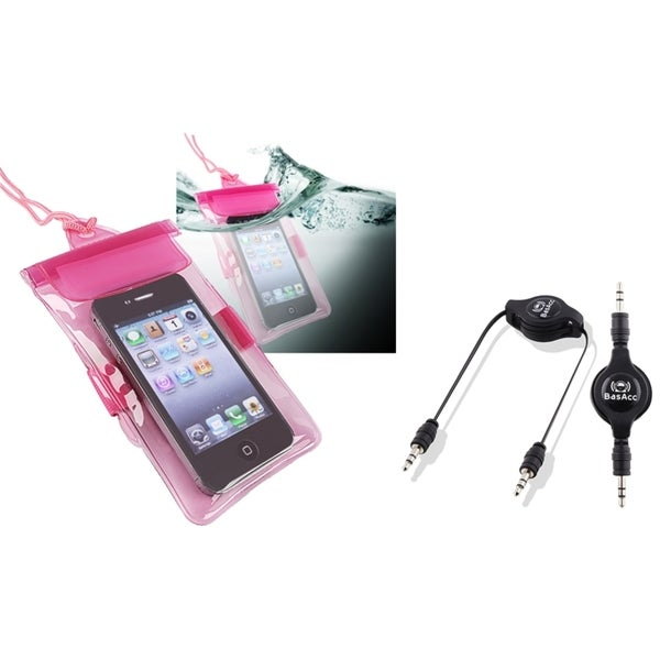 BasAcc Pink Waterproof Bag/ Cable for Apple iPod Touch Generation 4
