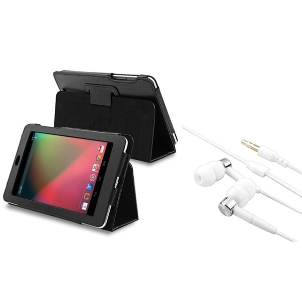 INSTEN Leather Stand Phone Case Cover/ Headset for Google Nexus 7