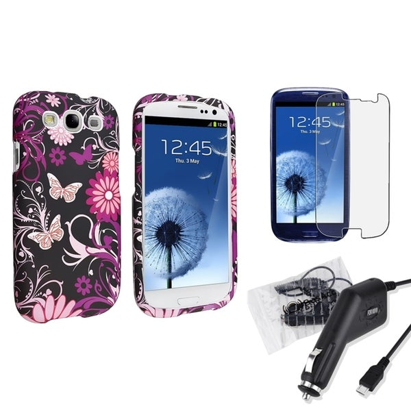 INSTEN Phone Case Cover/ Car Charger/ LCD Protector for Samsung Galaxy SIII/ S3