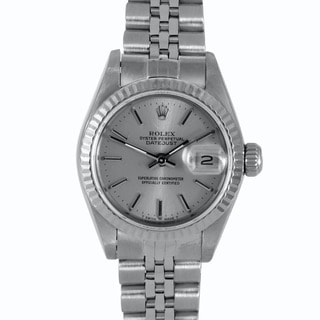 Pre-Owned Rolex Women's Silver Dial Jubilee Screw-Down Crown Stainless Steel Datejust Watch