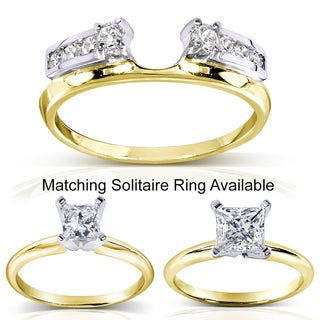Annello 14k Two-tone Gold 1/4 to 1ct TDW Diamond Wrap or Princess-cut Solitaire Ring (H-I, I1-I2)