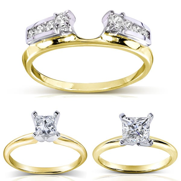 Annello 14k Two-tone Gold Round Cut Diamond Wrap or Princess Cut Solitaire Ring (H-I, I1-I2)