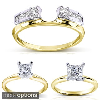 14k Two-tone Gold 1/4 to 1ct TDW Diamond Wrap or Princess-cut Solitaire Ring (H-I, I1-I2)