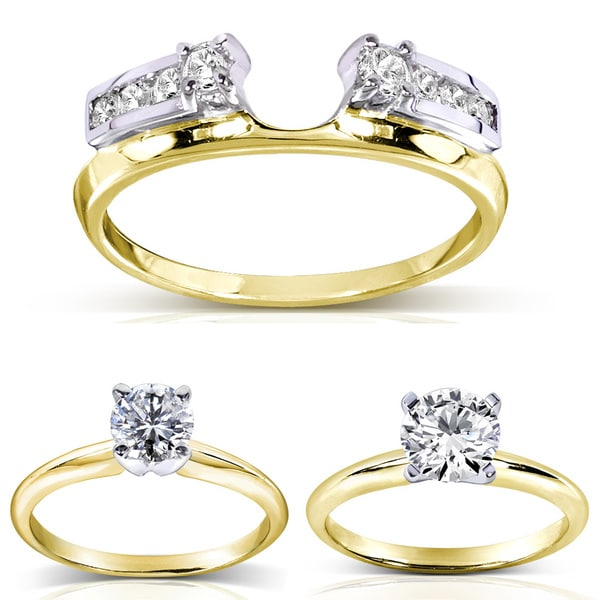 Annello 14k Two-tone Gold Round Cut Diamond Wrap or Round Cut Solitaire Ring (H-I, I1-I2)