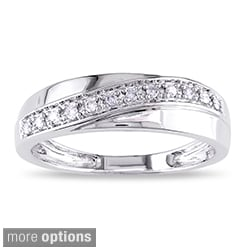 Miadora 10k White Gold 1/10ct TDW Diamond His and Her Ring (H-I, I2-I3)